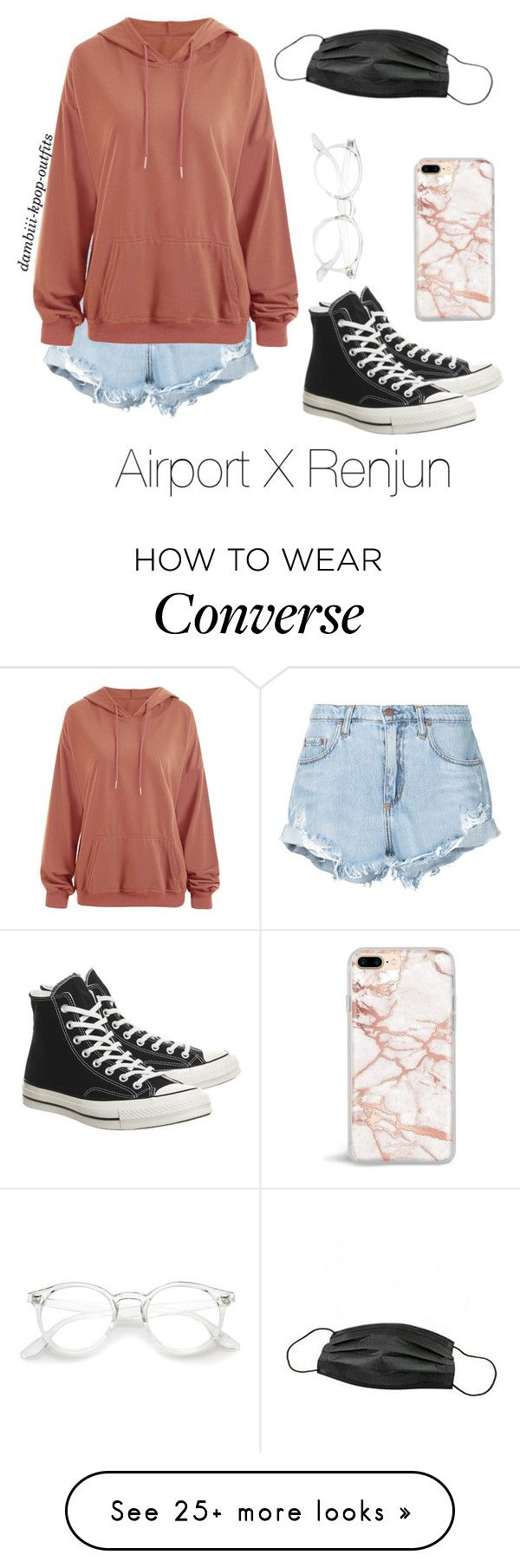 """Airport X Renjun"" by dambiii on Polyvore featuring Nobody Denim and Converse"