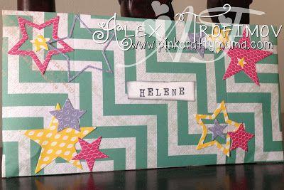custom envelope using stampin up envelope punch board by Alex Trofimov #PinkCraftyMama #stampinup #papersmooches #envelopepunchboard #stars #heidiswapp #diecutting #rotarystamp