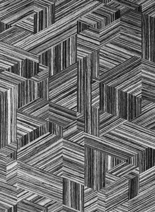 INTARSIA (WOOD VENEER PATTERN), 1960s  …grain - looks like engineered veneer.