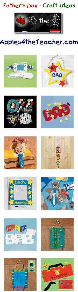 Fun Fathers Day crafts for kids - Father's Day craft ideas for children.  http://www.apples4theteacher.com/holidays/fathers-day/kids-crafts/