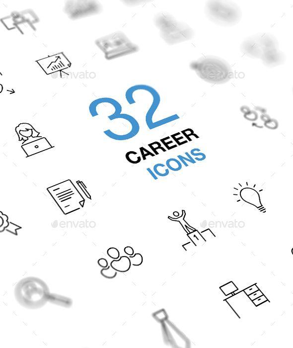 Business Career Icon Set. Fully customisable set of icons. #icon #design #art #digitalArt #achievement