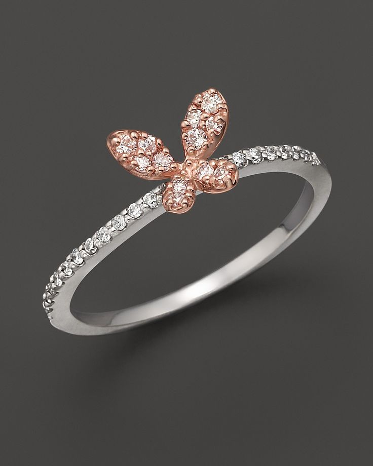 Diamond butterfly ring set in 14K rose & white gold, 0.20 ct.