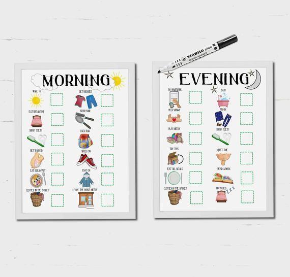 Morgenroutine Abendroutine Kinder Routine Diagramm Kinder
