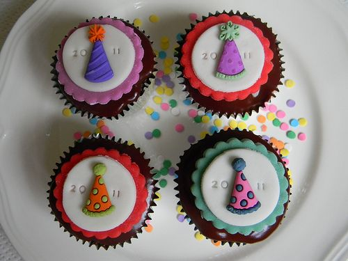2011 New Year Party Hat Cupcakes