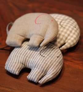 Linen elephants... these would be so cute as rice hot/cold packs! could also…