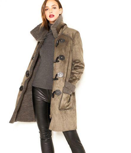 Manteau femme façon peau lainée