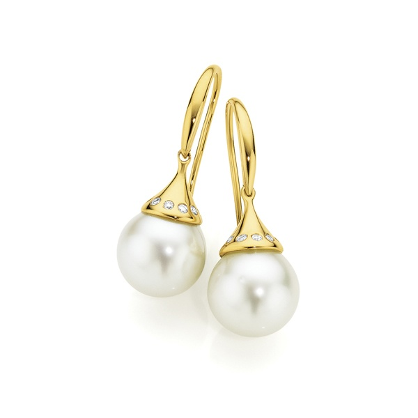 Perl'eco 9ct Yellow Gold Cultured South Sea Pearl & Diamond Earrings