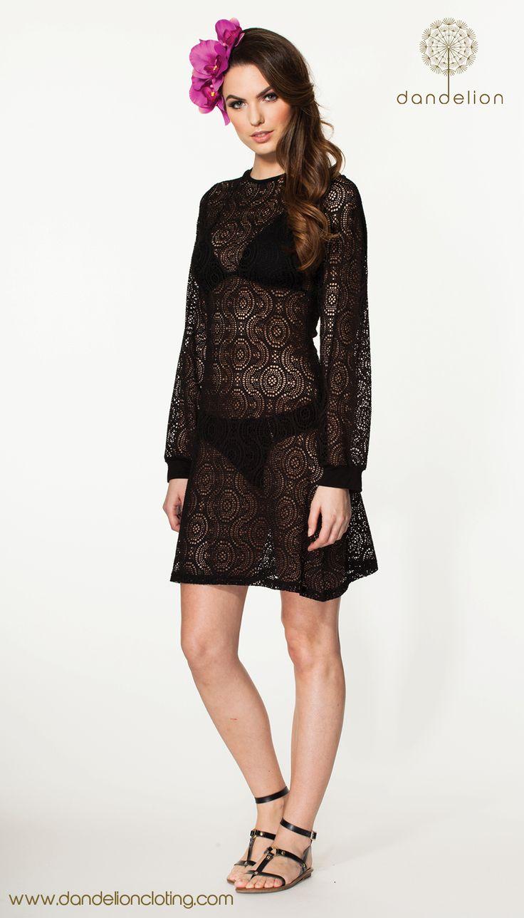 Little black see through crochet dress. Perfect for summer