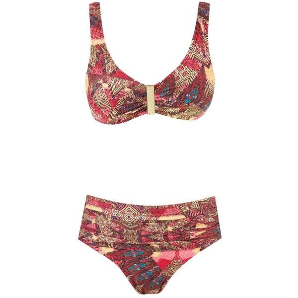 Lygia & Nanny abstract print bikini set ($116) ❤ liked on Polyvore featuring swimwear, bikinis, red, high-waisted bikinis, high rise bikini swimwear, high waisted two piece, colorful bikini and multi color bikini