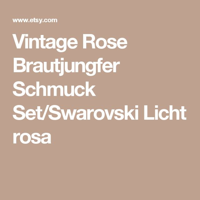 Vintage Rose Brautjungfer Schmuck Set/Swarovski Licht rosa
