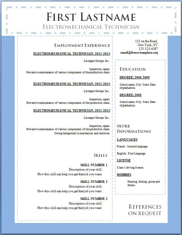 7981 best Resume Career termplate free images on Pinterest - cv word format