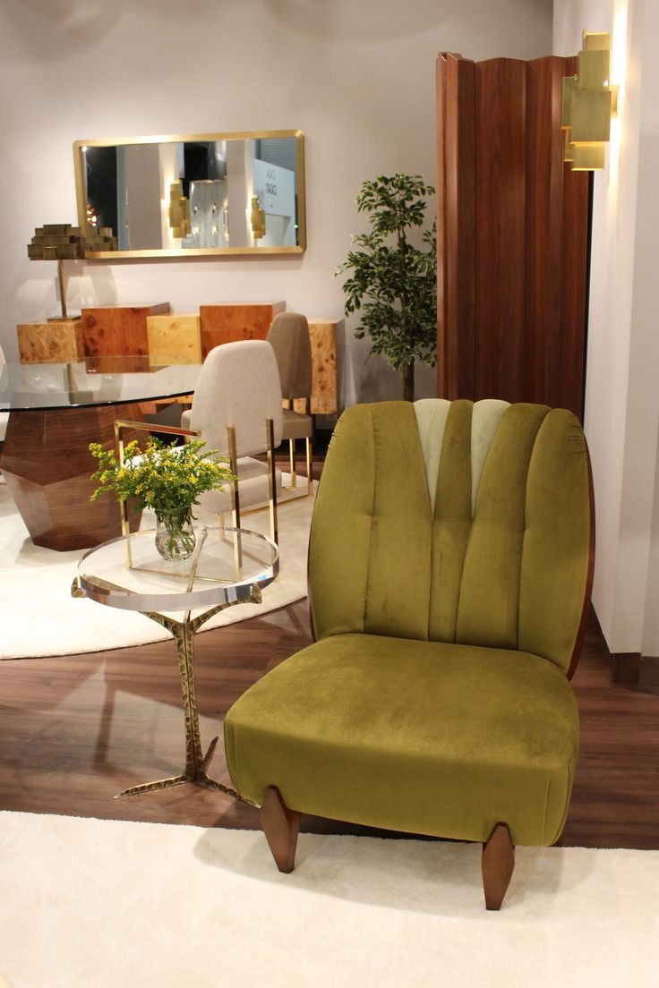 A touch of nature with Na Pali armchair in soft velvet and walnut and Alentejo side table in cast brass.  JSB #insidherland #jsb #maisonetobjet #mo17 #furniture #natureinspired #napali #seating #armchair #green #velvet #walnut #alentejo #sidetable #table #brass #patine #handmade #handcrafted #exclusive #design #interiors #homedecor #decoration #instadecor #archiproducts
