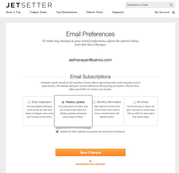 Best Email Preference Center Travel Images On