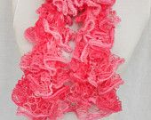 Pink Scarf Knitting Ruffle Scarf  Mother's Day Presents  Valentines gifts for her Accessories Gift For Mother Under 15