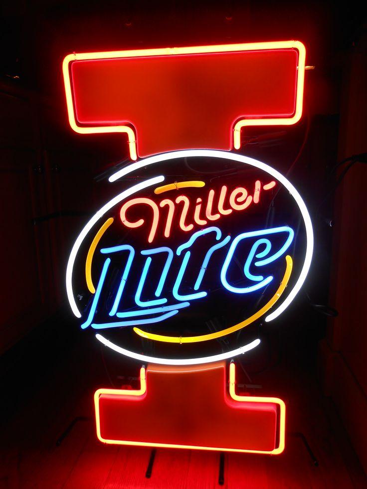 miller lite university of illinois illini neon bar sign. Black Bedroom Furniture Sets. Home Design Ideas