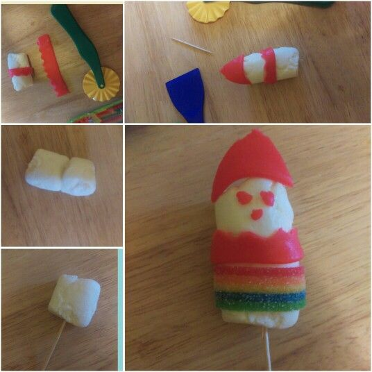 Toddler Designed Airhead Snowman Craft  You Need:  2 Large Marshmallows 2 toothpicks or a skewer 1 red airhead  1 rainbow airhead  1 wavy airhead cutter   Directions: Place both marshmallows on the toothpicks or skewer. Next take your red airhead, and use the wavy cutter to cut out a wavy strip and then place it where the two marshmallows meet. Next, cut a triangle out for a santa hat, then three small dots for two eyes and a nose. Lastly, cut a small strip of rainbow airhead and place it on…