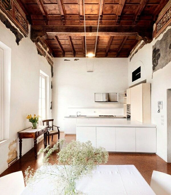 We LOVE the ceiling and the wonderful juxtaposition of modernity and old world moldings and details.: Kitchens, Decor, Interior Design, White Kitchen, Interiors, Living Room, Kitchen Design, Wood Ceilings, Space
