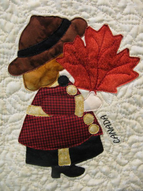Canada Sunbonnet Sue, Canadian Mounties attire with maple leaf, by MooseStash Quilting. Design from International sunbonnet Sue by Debra Kimball.