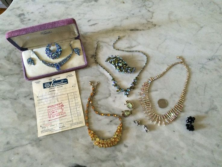 vintage lot of earrings necklace brooches crystal rhinestone  1950 Sherman
