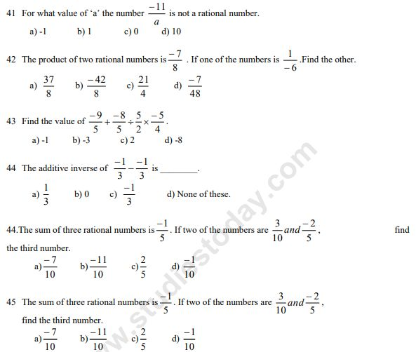 Rational Numbers Class 7 Worksheet With Answers 2 In 2020 Rational Numbers Number Worksheets Worksheets