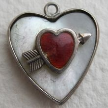 Sterling Puffy Heart Charm Shot with an Arrow