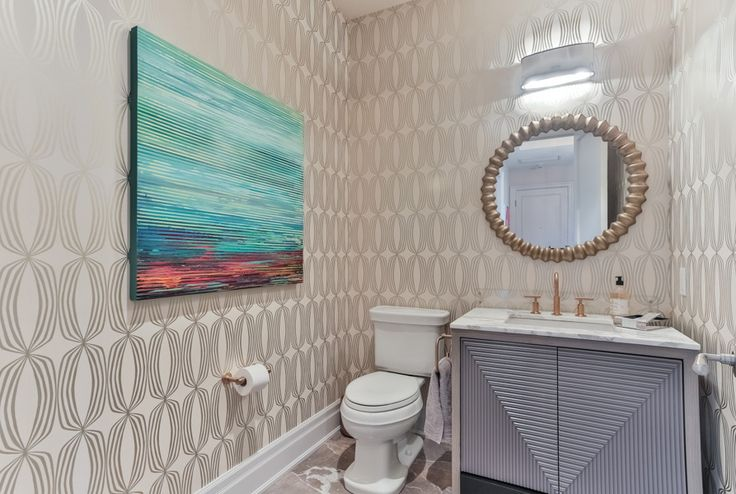 Luxury Condo by Lisa Ferguson Interior Design   Powder Room #art #lighting #mirror #vanity #wallpaper #interiordesigner