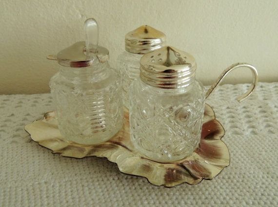 Glass 3 Containers for Spices & Stand Vintage English Set