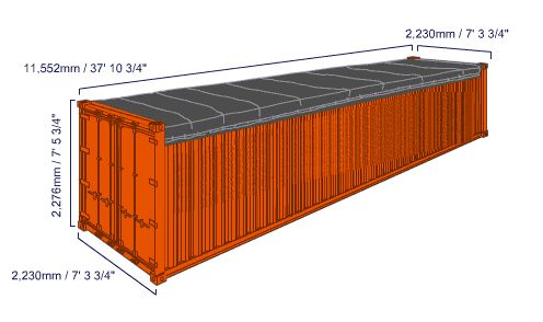 20 foot and 40 foot open top container dimensions