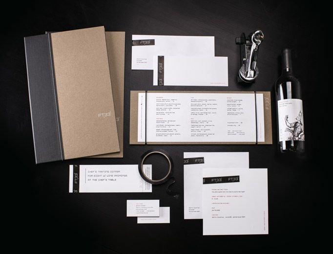 Designed by Tunnel Bravo.  TunnelBravo created this contemporary, textured identity for Chef Matt McCallister's new Dallas, TX, restaurant. The voguish brand carries through to the menus in a reflection of the chef's elegant but understated style: a perfect blend of outstanding application, well-chosen ingredients, and flexible handmade improvisation — hallmarks of great food and great design, alike.