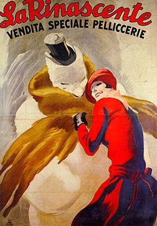 """Anno: 1926 Soggetto: """"La Rinascente, vendita speciale pelliccerie"""" - Stampa Star –IGAP, Milano Provenienza: Raccolta Salce, Museo Bailo, Treviso"""