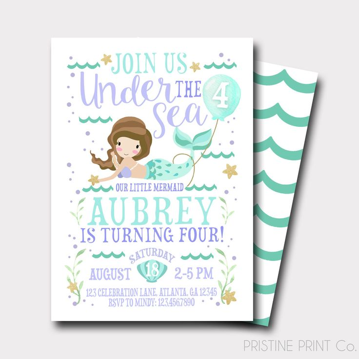 Mermaid Birthday Invitation | Under The Sea Birthday Invitation | Summer Birthday Invitation | Pool Party Invitation | Little Mermaid by PristinePrintCo on Etsy https://www.etsy.com/listing/287087131/mermaid-birthday-invitation-under-the