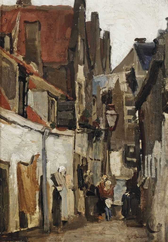 Straatje te Rotterdam / A street in Rotterdam, George Hendrik Breitner. Dutch (1857 - 1923) - Oil on Canvas -