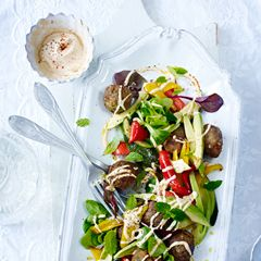 Falafel with avocado, roasted vegetables and tahini dressing - Sainsbury's Magazine