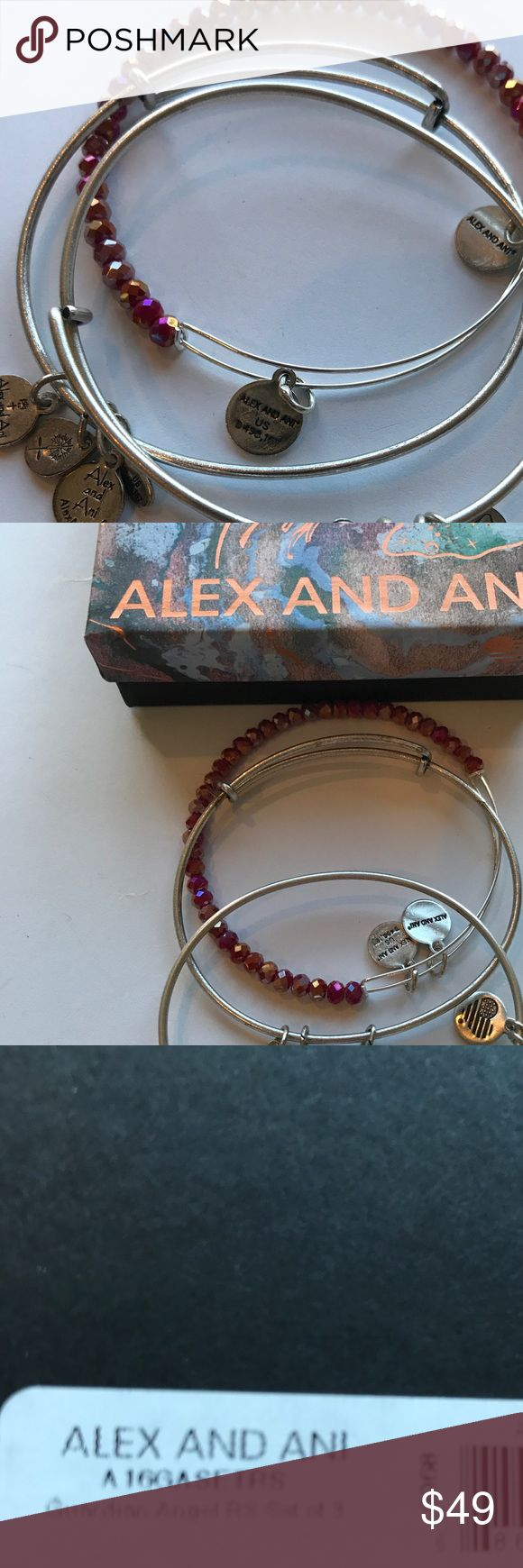 NEW Alex and Ani Set of 3 Guardian New!!!! Comes with Box and the Tag is located on the bottom of the Box! Silver Tone Alex & Ani Jewelry Bracelets