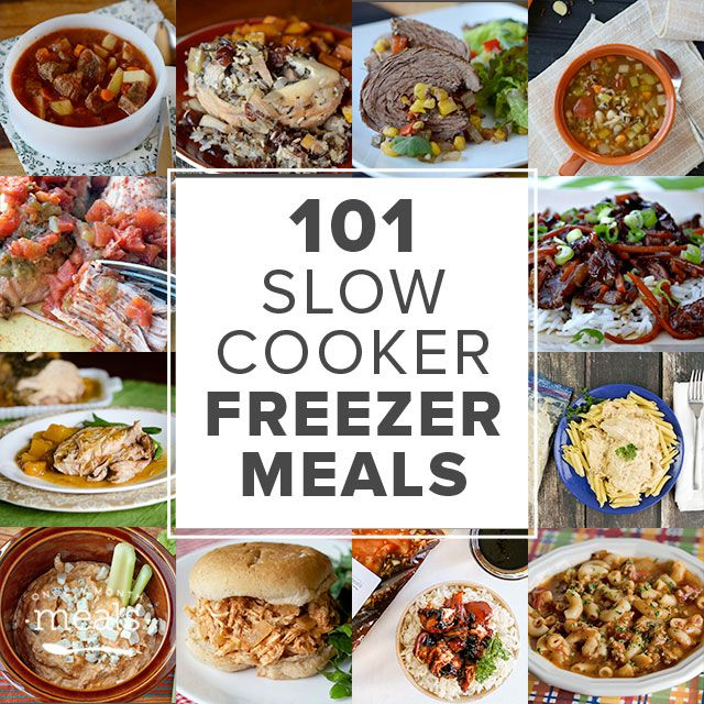 101 Slow Cooker Freezer Meals - some good sounding options here - directions on freeing after cooking but could do just as easily before cooking to most