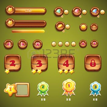 Set of wooden buttons, progress bars, and other elements for web design and user…