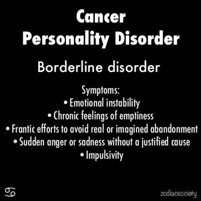Cancer Personality Disorder. Who's following me and taking notes about my life?... It's getting creepy.