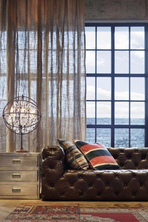 marylemcke: Timothy Oulton Chesterfield Sofa Metal dresser side table atomic light Large windows Sheer panels