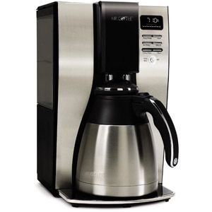 Mr. Coffee 10-Cup OptimalBrew Thermal Coffee Maker-Keeps coffee hot all day, unbreakable carafee, easy to program, goes well asthetically with my appliances and easy to clean.  #10 out of scale of 1-10.