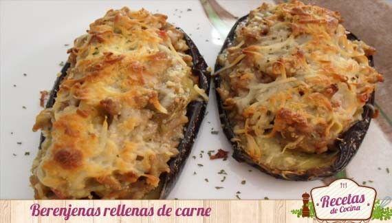 Berenjenas rellenas de carne con queso receta saludable y rica rica food - Que cocinar con carne picada ...