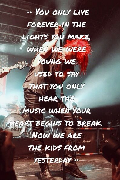 My Chemical Romance lyrics. Made by @iLikeBands0501. Please give credit if repinned