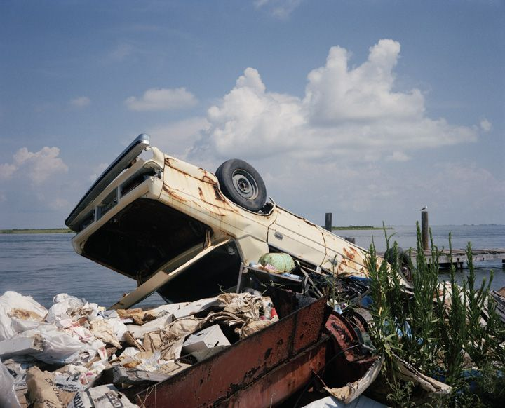 Car in skip by lake | Millennium Images Library