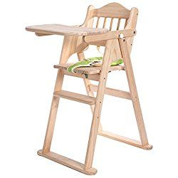 High Chair, Homkit Height Right Wooden Portable Baby Doll High Chair with Infant Insert and Tray Bouncer for Sitting