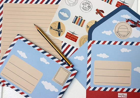 Children's Letter Writing Pad - By KatyJane Designs © 2012. Great for kids or young at heart - Airmail design. Aerogramme Style. http://www.katyjane.com.au/html/letter_writing_pad.htm