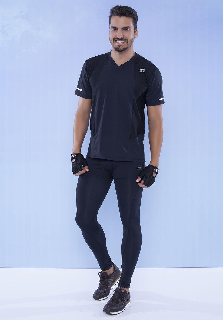 Camiseta tela refletiva 110152* Calça compressão masculina 170148*