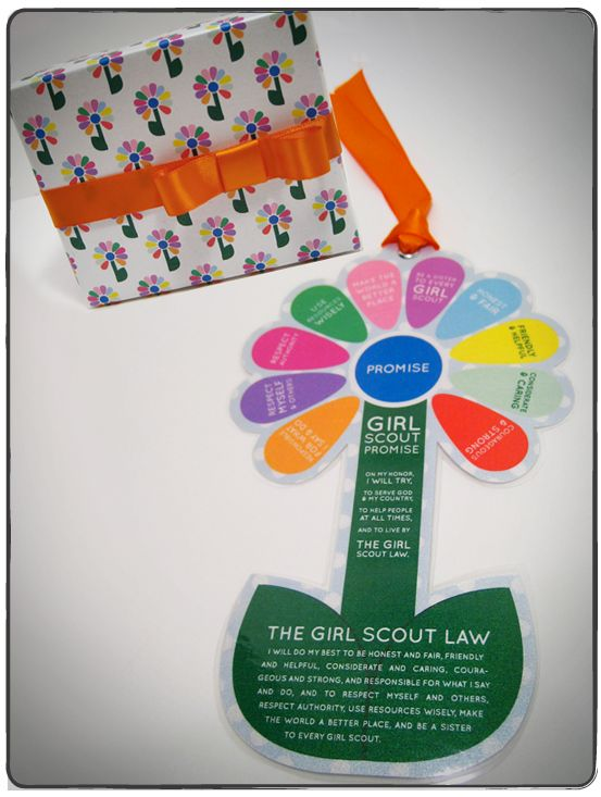 Printable Daisy Bookmark with Girl Scout Law and Daisy Promise-I wonder if there is a way to make this in sticker form