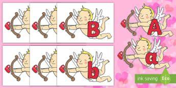 A to Z Alphabet on Cherubs Cut-Outs - EYLF, Valentines Day, Alphabet display, heart, love, kindness, romance, romantic,Australia, letters,