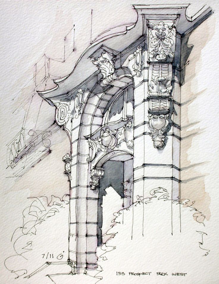 135 Prospect Park West, James Anzalone Brooklyn Baroque. Ink and watercolor sketch on location. Park Slope, Brooklyn.
