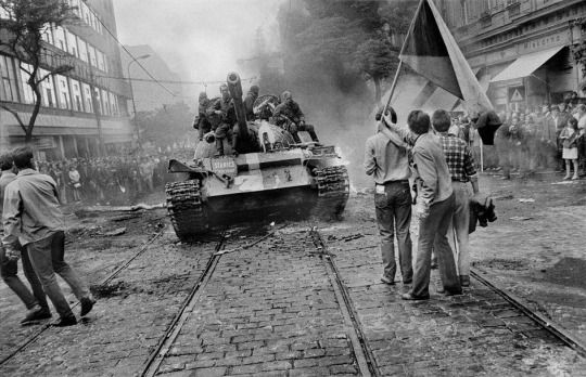 Soviet T-55 MBT in Prague during the 1968 invasion of Czechoslovakia