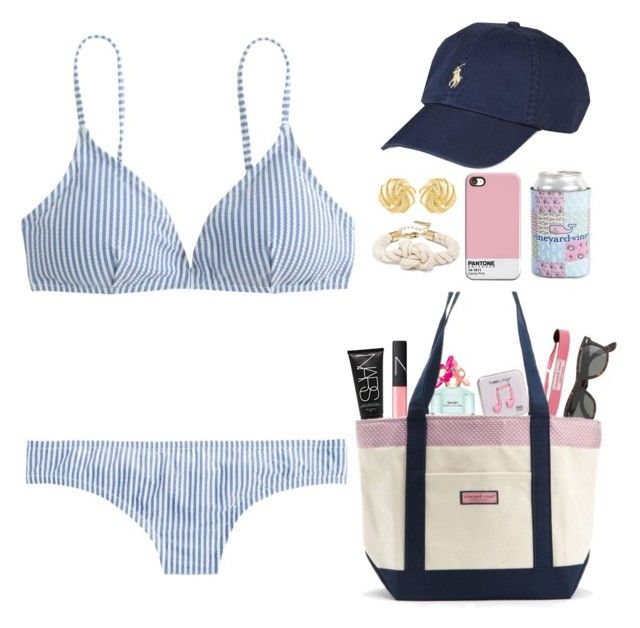 """""""beach or bust"""" by okieprep ❤ liked on Polyvore featuring Happy Plugs, Marc Jacobs, J.Crew, Vineyard Vines, Ray-Ban, Susan Shaw, NARS Cosmetics, Ralph Lauren, aweekatthebeachcontest and preppyallweek"""